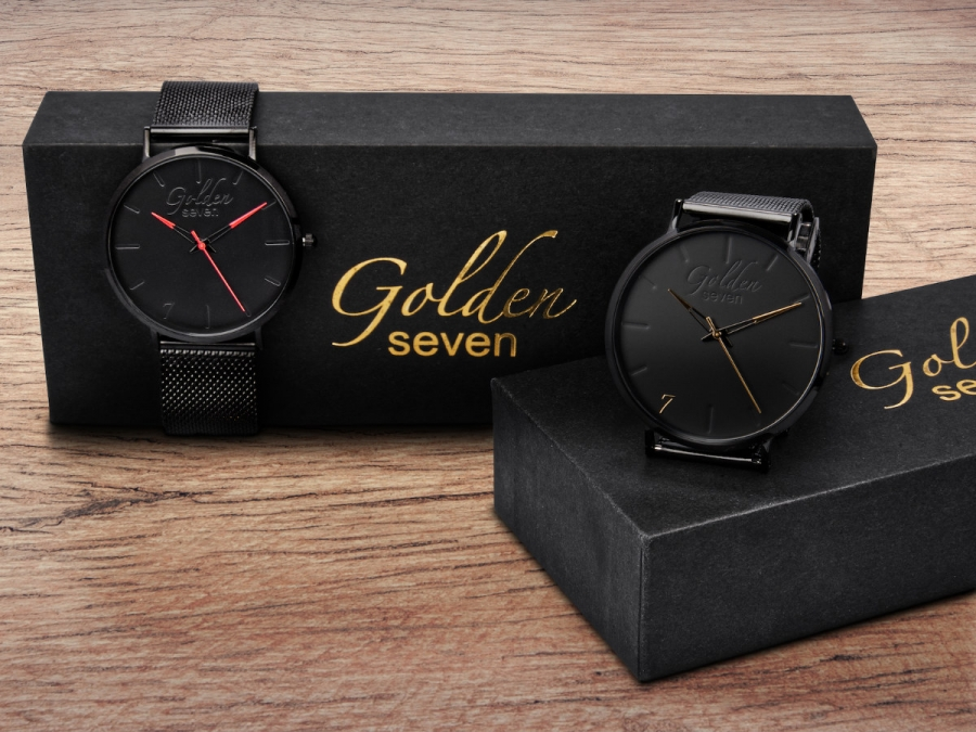Golden seven, Herrenuhr GS-1 Schwarz/Gold